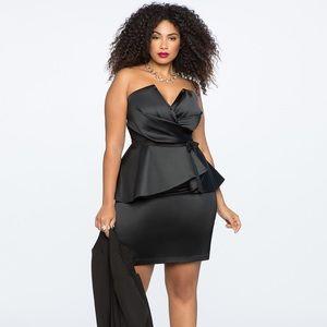 Black Eloquii Draped Bodice Peplum Dress 16